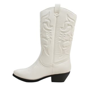 Shoes - White cowboy knee high pull on boot